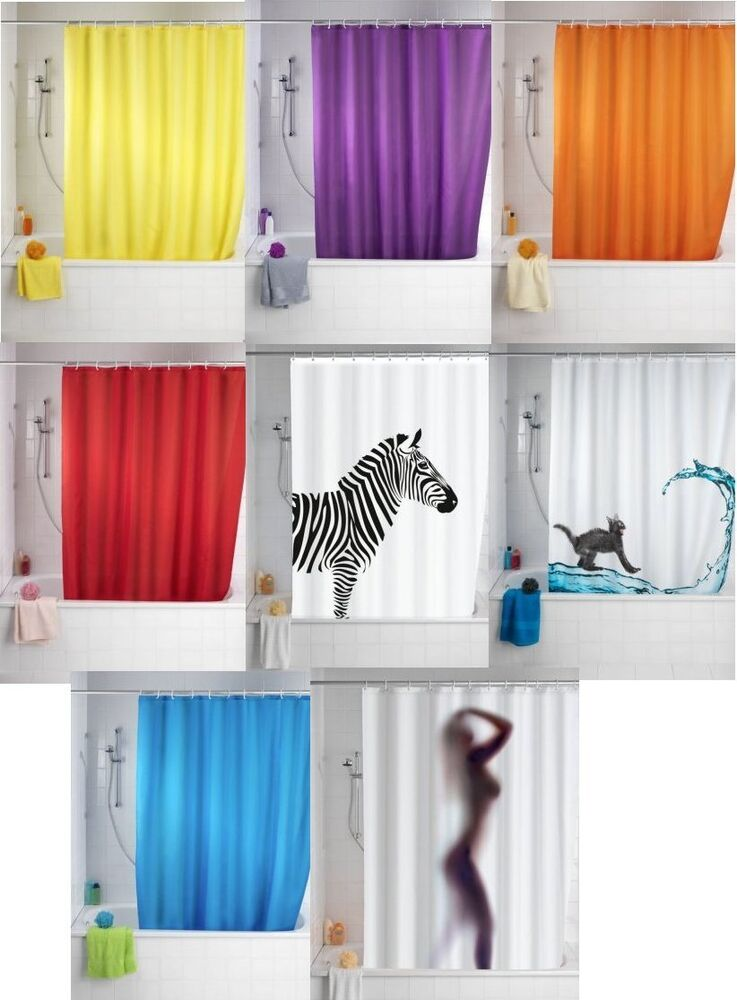 Shower Curtains Anti-Mould | 180 x 200cm Extra Long Drop | Rings ...