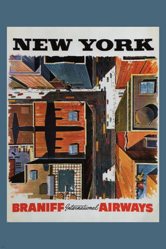 new york vintage travel poster braniff international airways usa 24x36 cool ebay. Black Bedroom Furniture Sets. Home Design Ideas