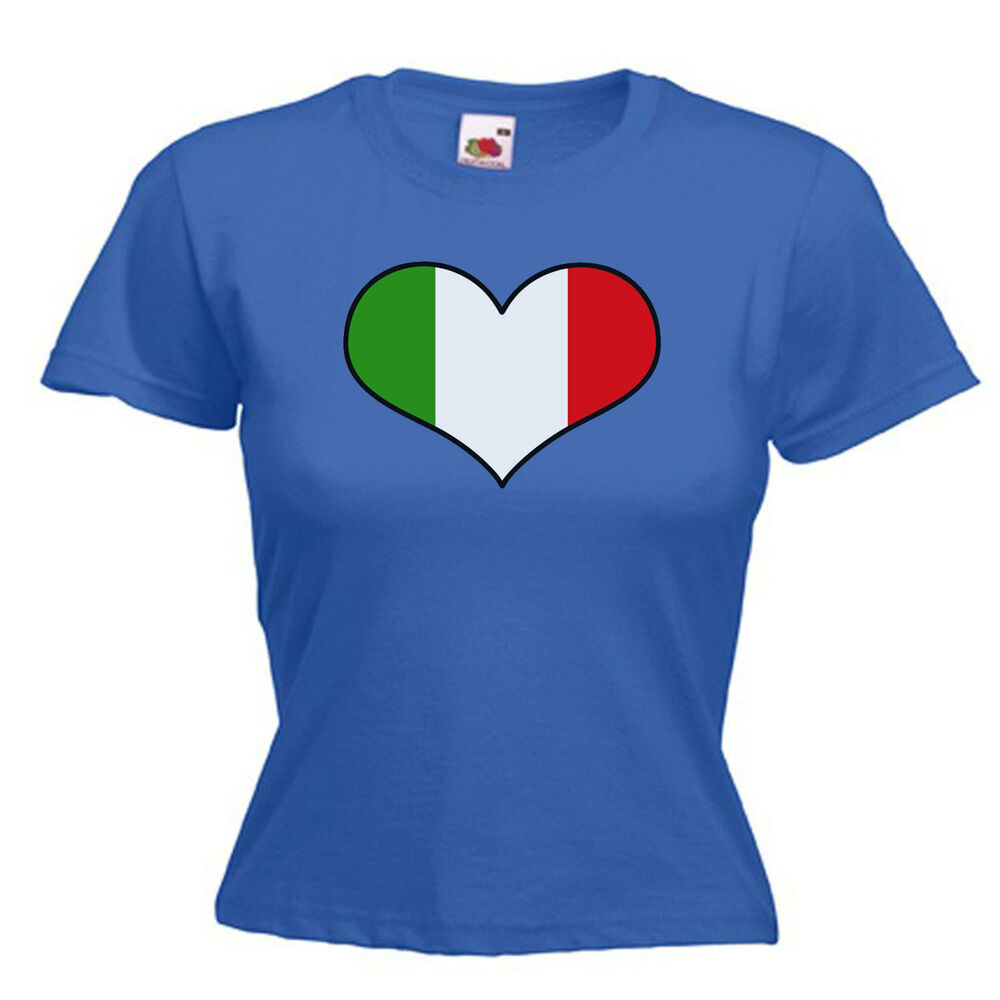 Italy italian love heart flag ladies lady fit t shirt 13 for Shirts made in italy