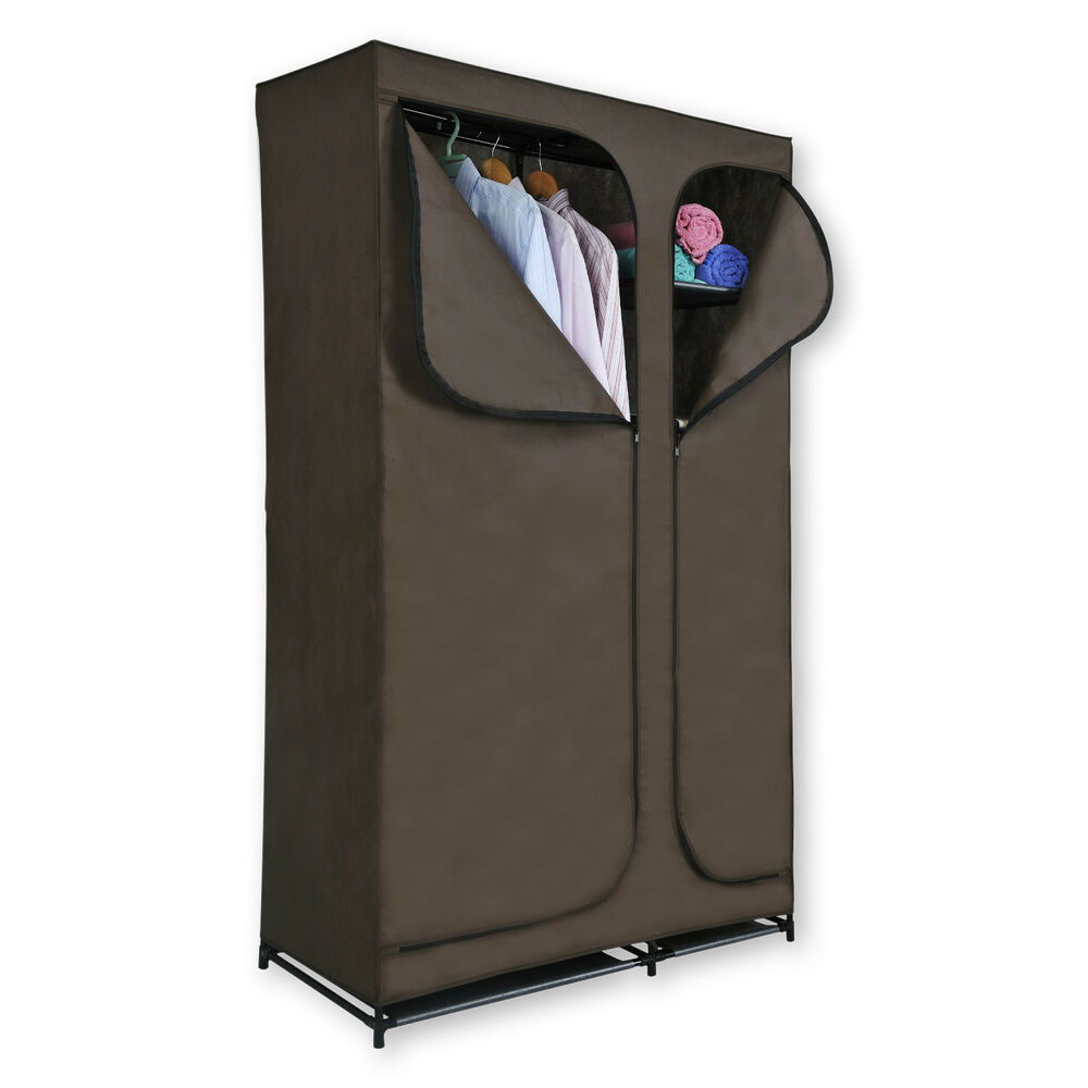 Canvas Storage Boxes For Wardrobes: Canvas Double Wardrobe Hanging Rail Clothes Storage Unit