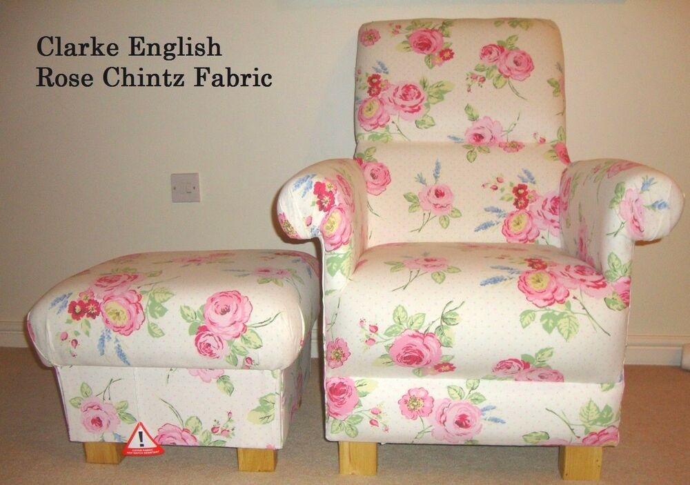 Clarke English Rose Chintz Fabric Chair & Footstool ...