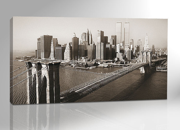 new york skyline 200x100 panorama xxl bild auf leinwand keilrahmen 26 ebay. Black Bedroom Furniture Sets. Home Design Ideas
