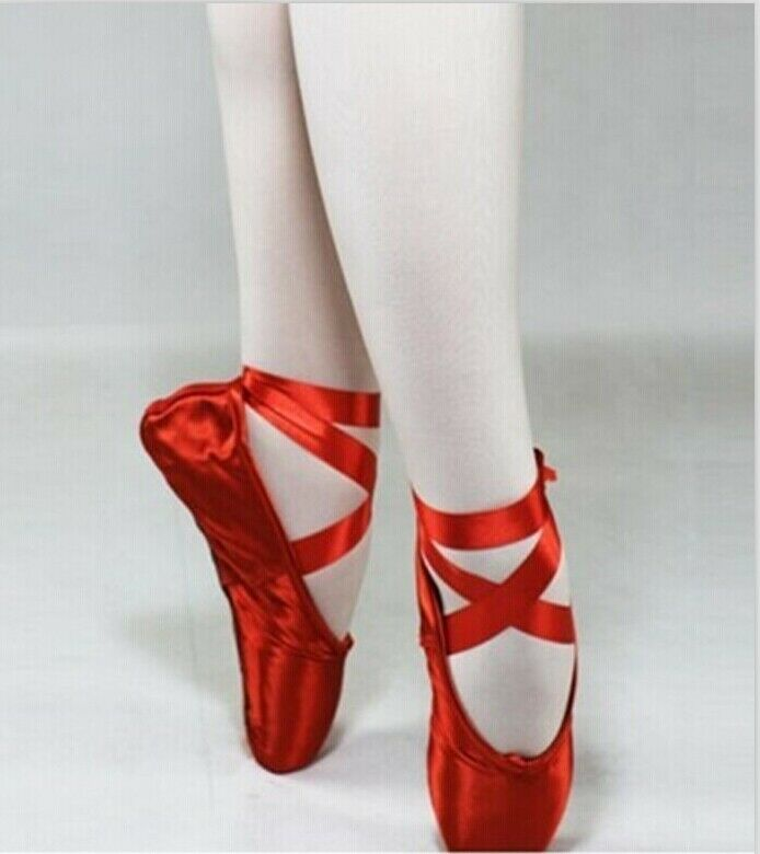 Sale Pointe Ballet Shoes Toe Athlete Hot Soft Girls Red Pink Satin Dance Ladies.