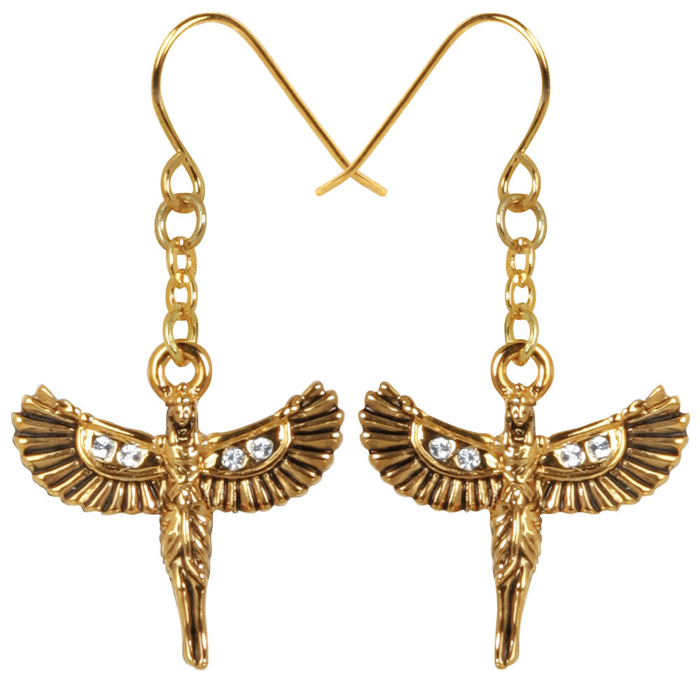 Egyptian isis goddess opened wings pewter earrings set for Egyptian jewelry