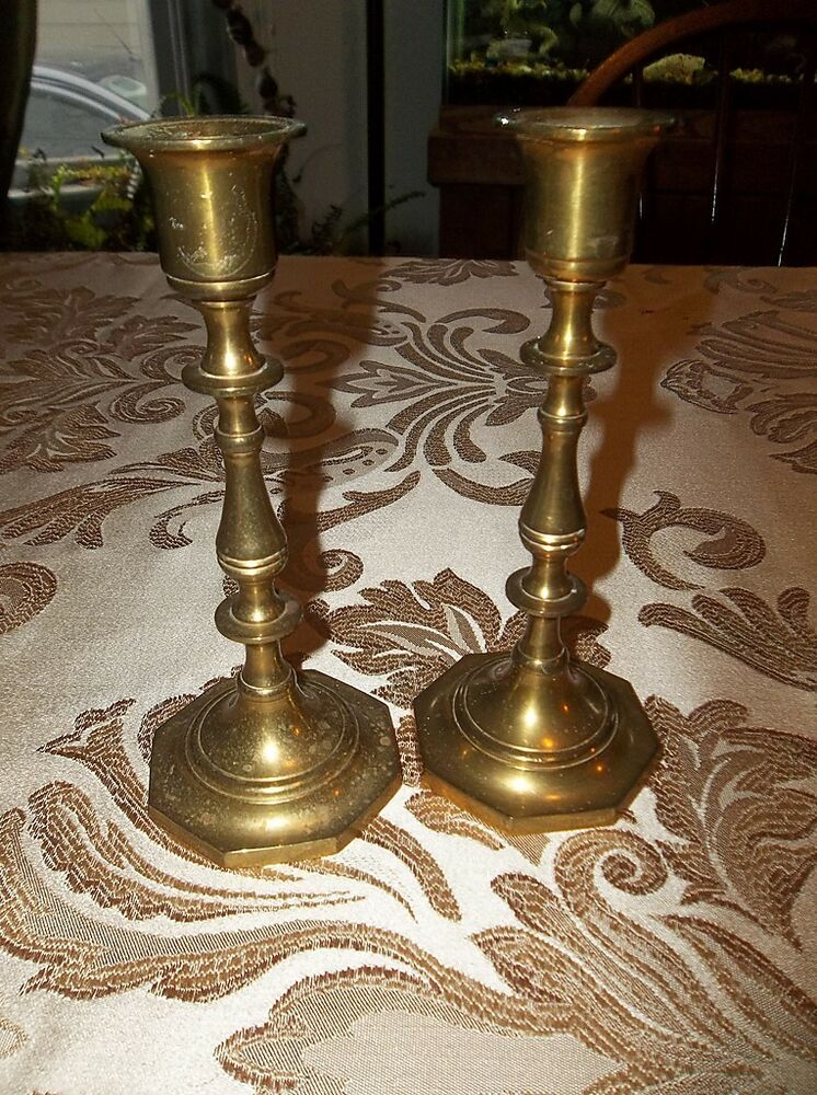 made in india brass 7 x 3 candlesticks pair 130402019 ebay. Black Bedroom Furniture Sets. Home Design Ideas