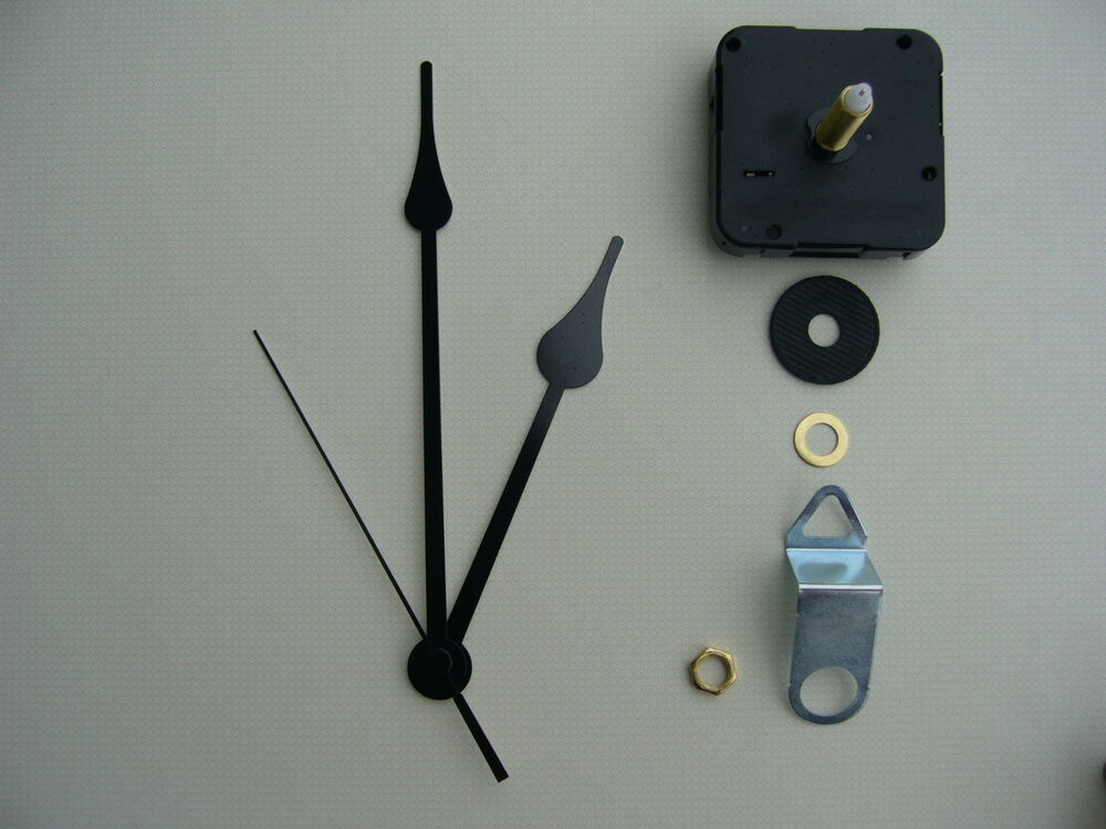 High Torque Clock Movement Extra Long Spindle 6 Inch Black