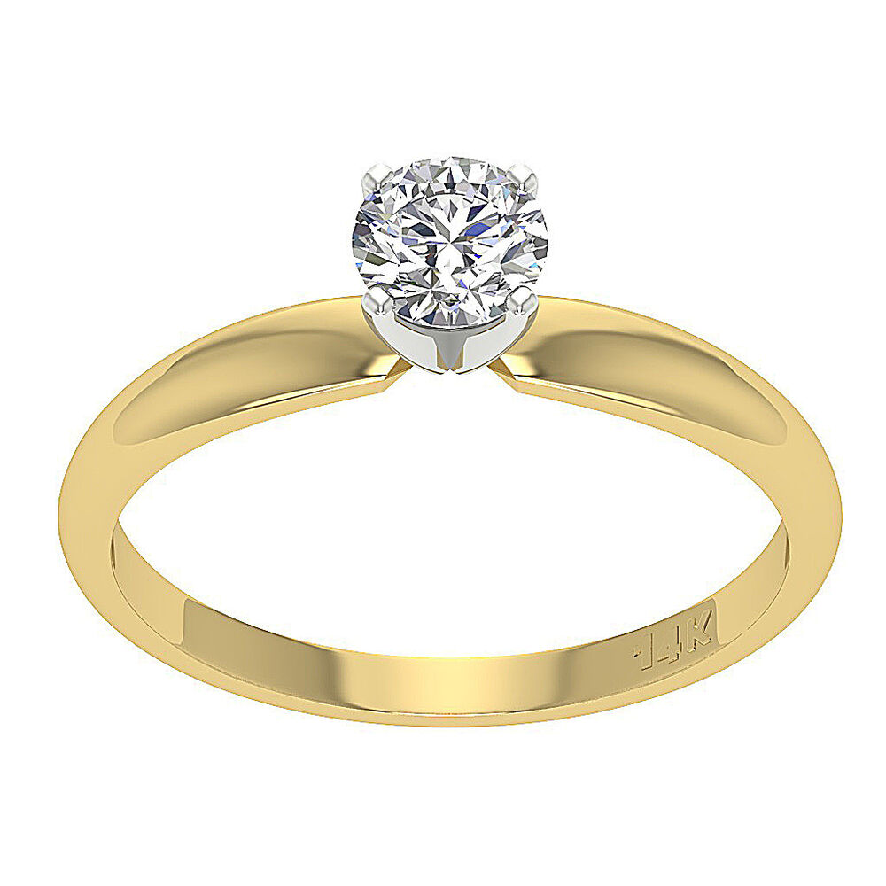 wedding rings yellow gold solitaire engagement ring band 0 55 ct cut 1087
