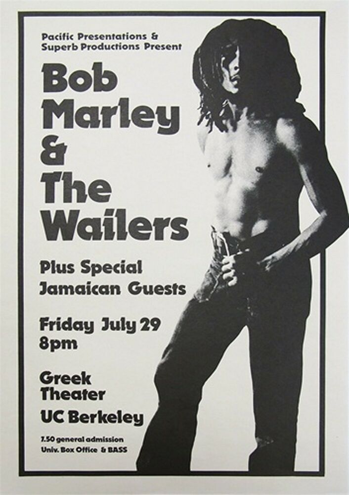 bob marley the wailers greek theater uc berkeley 1977 concert poster repro ebay. Black Bedroom Furniture Sets. Home Design Ideas