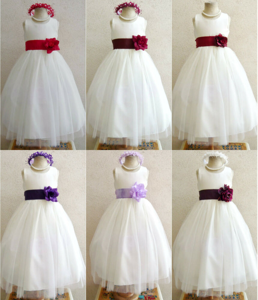 Ivory burgundy red purple plum baby toddler bridal party for Purple and ivory wedding dress