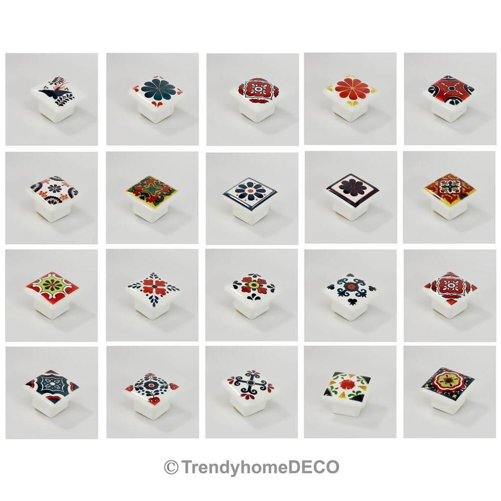 Red Yellow Green Blue Square Ceramic Flower Drawer Knobs