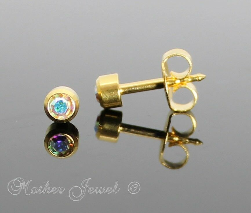 4mm Lock Back 24ct Gold Plated Studex Girls Boys Baby