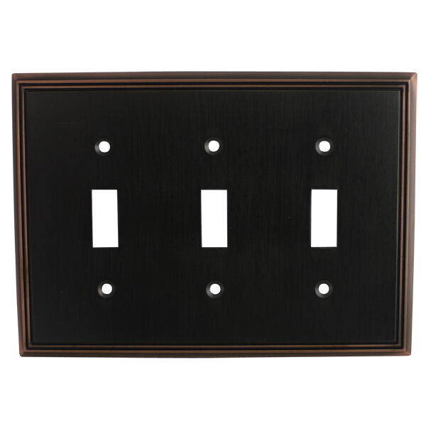 Oil rubbed bronze triple toggle decorative wall switchplate cover 65005 orb ebay - Wall switch plates decorative ...