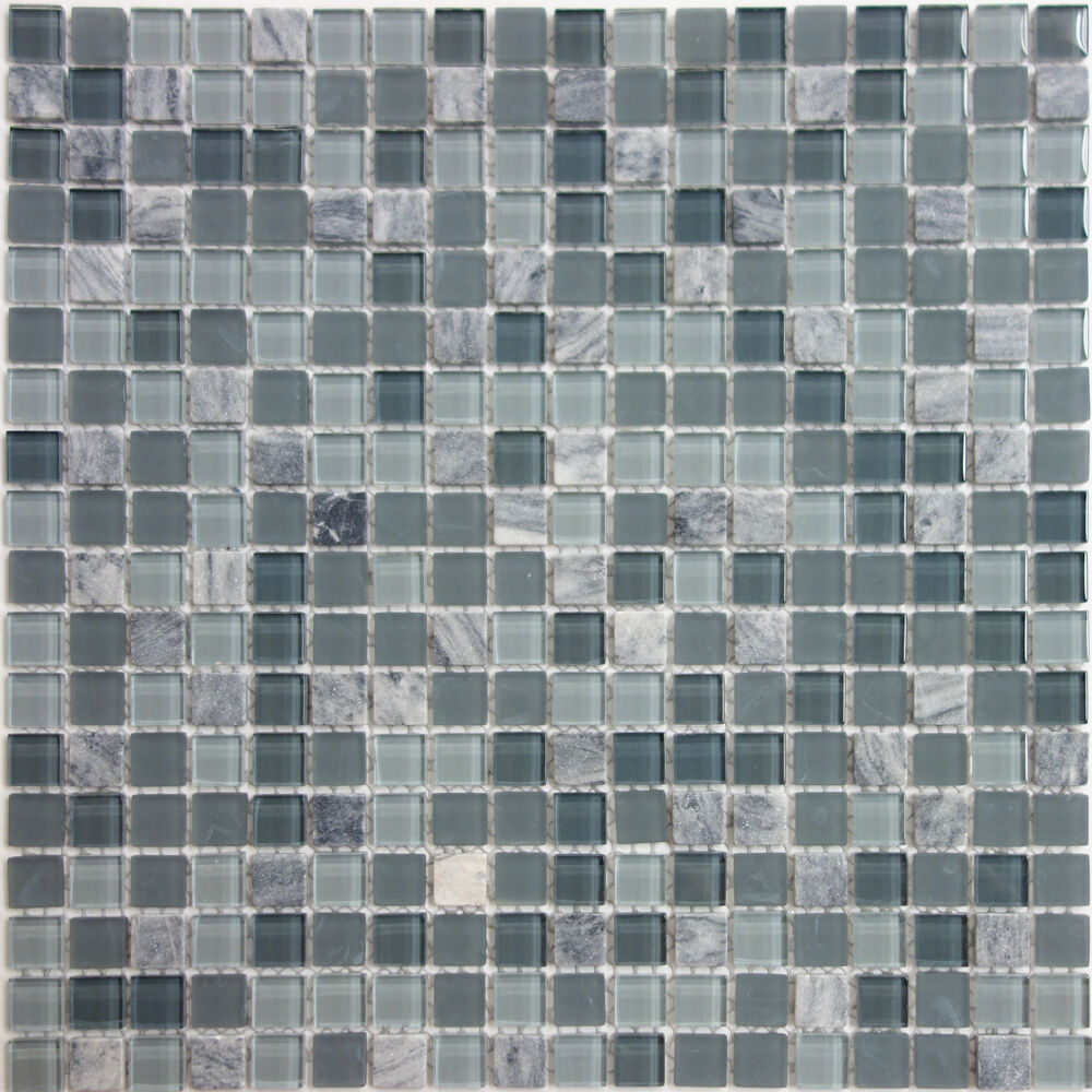 Sample Wooden Grey Marble Glass Mosaic Tile Backsplash: SAMPLE- Blue Marble Mix Glass Mosaic Tile Kitchen