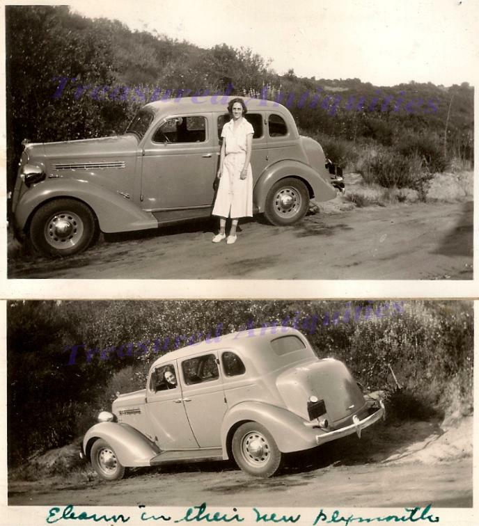 Young woman driver with 1935 plymouth pj touring sedan for 1935 plymouth 4 door sedan