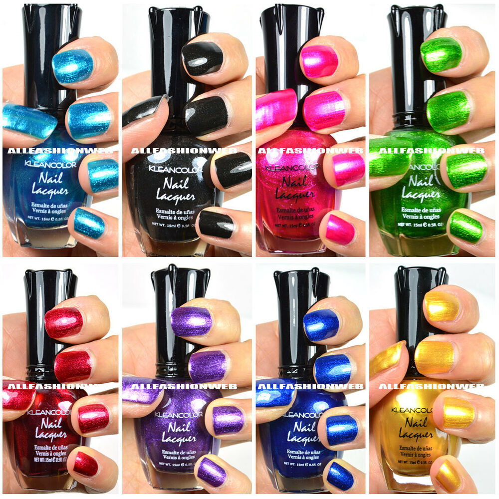 Very Me Metallic Nail Polish Shades: 8 PCS NEW KLEANCOLOR ASSORTED METALLIC NAIL POLISH COLORS