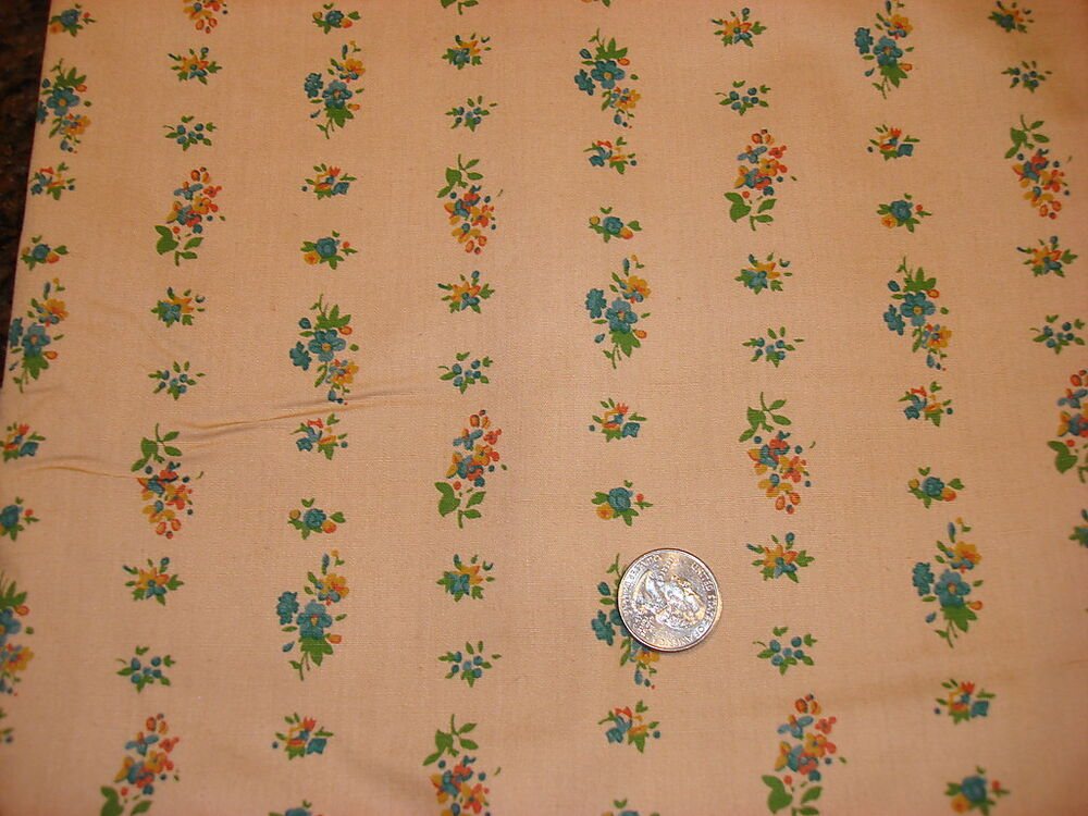 Vintage cotton fabric blue gold rust floral rows on brown for Vintage fabric