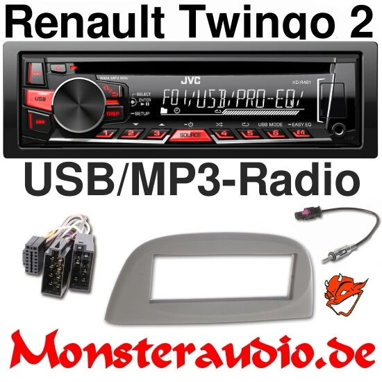 jvc autoradio radio renault twingo 2 cd mp3 usb radio adapter blende ebay. Black Bedroom Furniture Sets. Home Design Ideas