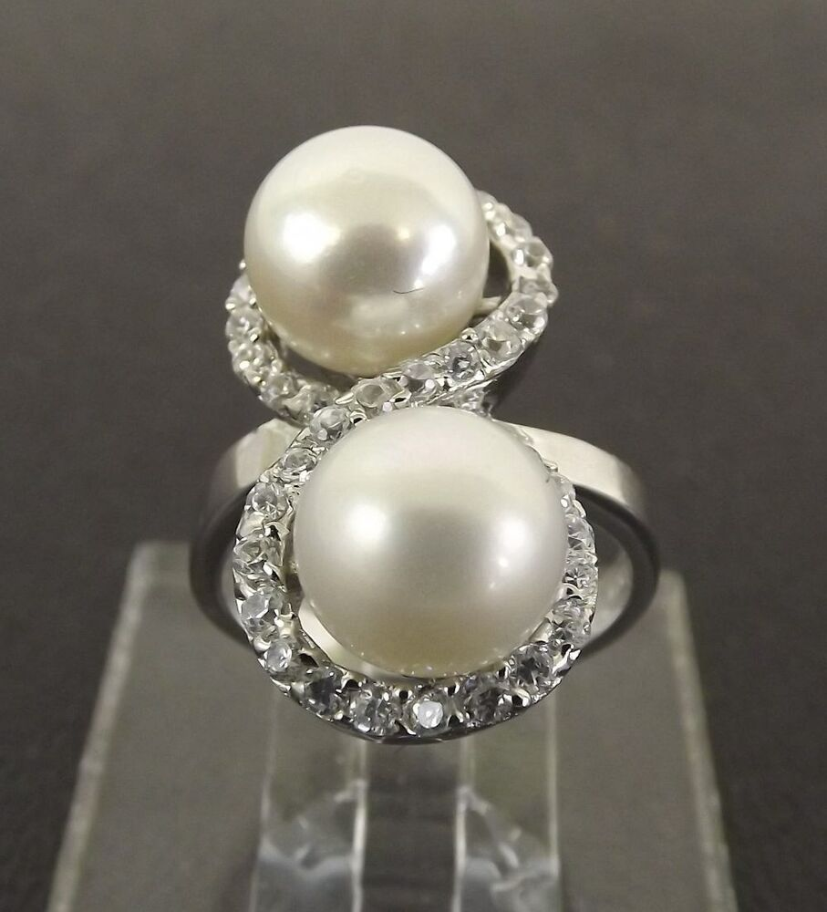 New Sterling Silver Pearl & Clear Stone Freeform Ring ...