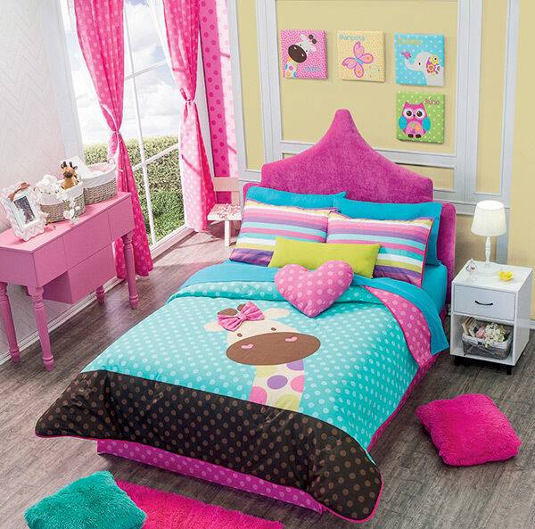 New girls teens giraffe aqua pink brown colors comforter for Cuarto para tres ninas