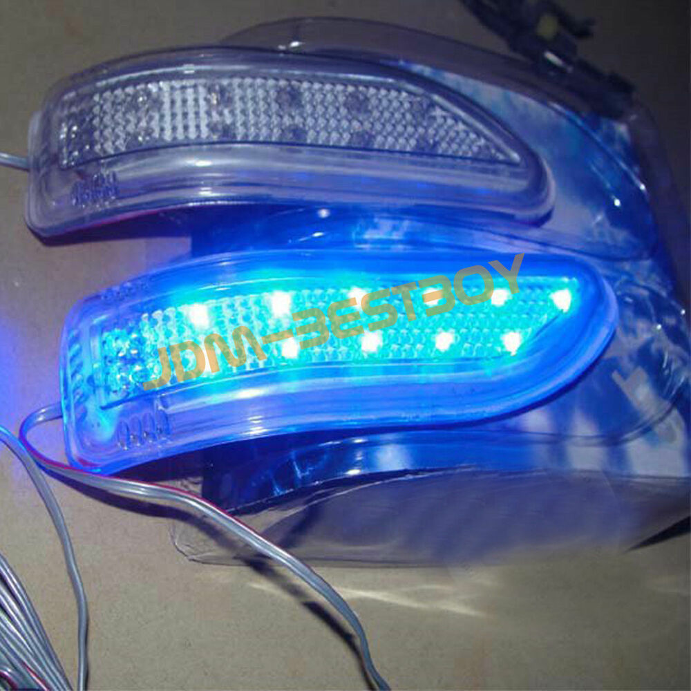 2 X Blue Led Car Side Mirror Turn Signal Lights Amber