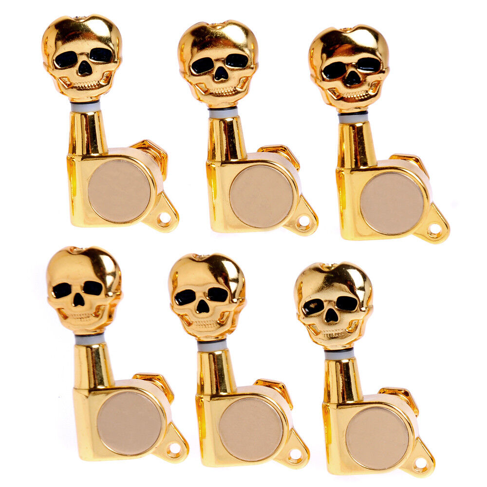 guitar string inline tuning pegs tuners machine heads gold 6r skull sealed gear 634458561402 ebay. Black Bedroom Furniture Sets. Home Design Ideas