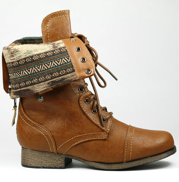 Whisky Brown Fold down Plaid Mid-Calf Lace-Up Military Combat ...