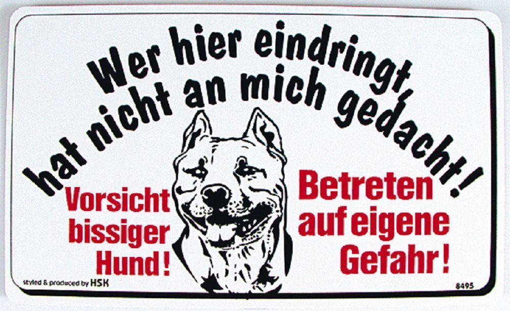 schild warnschild 25 x 15 cm vorsicht bissiger hund wer hier 308495 ebay. Black Bedroom Furniture Sets. Home Design Ideas