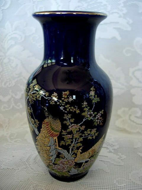 Collectible Vintage Cobalt Blue Art Pottery Ceramic Exotic Bird Asian Vase Ebay