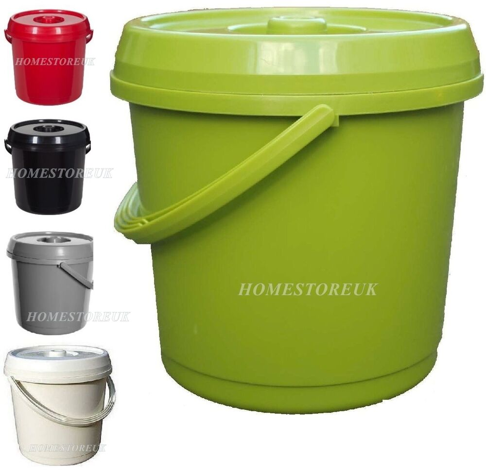 14 Ltr Plastic Bucket With Lid Handle For Food Storage