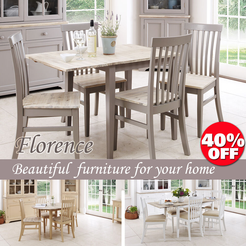 Florence stunning rectangle extended kitchen dining table and chairs sits upto 4 ebay - Rectangle kitchen table sets ...
