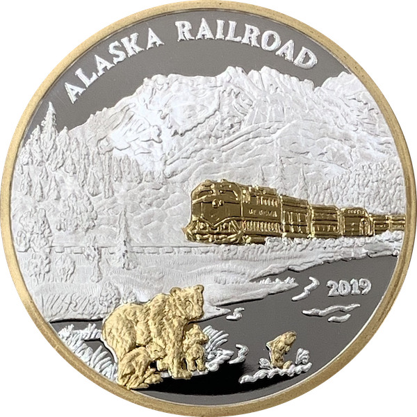 Alaska Mint Railroad Silver Gold Medallion Proof 1oz Ebay