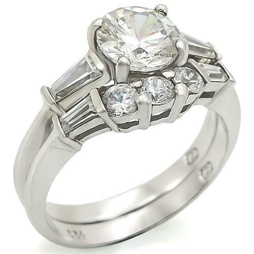 2 CARAT ROUND CZ WEDDING ENGAGEMENT RING SET SIZE 5 6 7 8 9 10