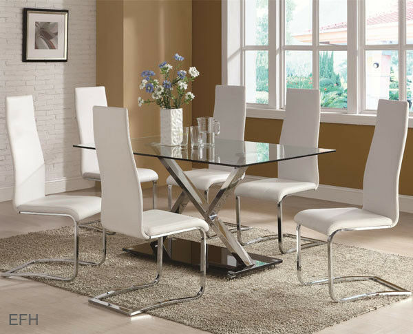 NEW 5PC SANYA MODERN GLASS CHROME METAL DINING TABLE SET