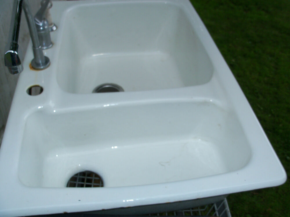 double ceramic kitchen sink pre owned white porcelain cast iron basin 6911