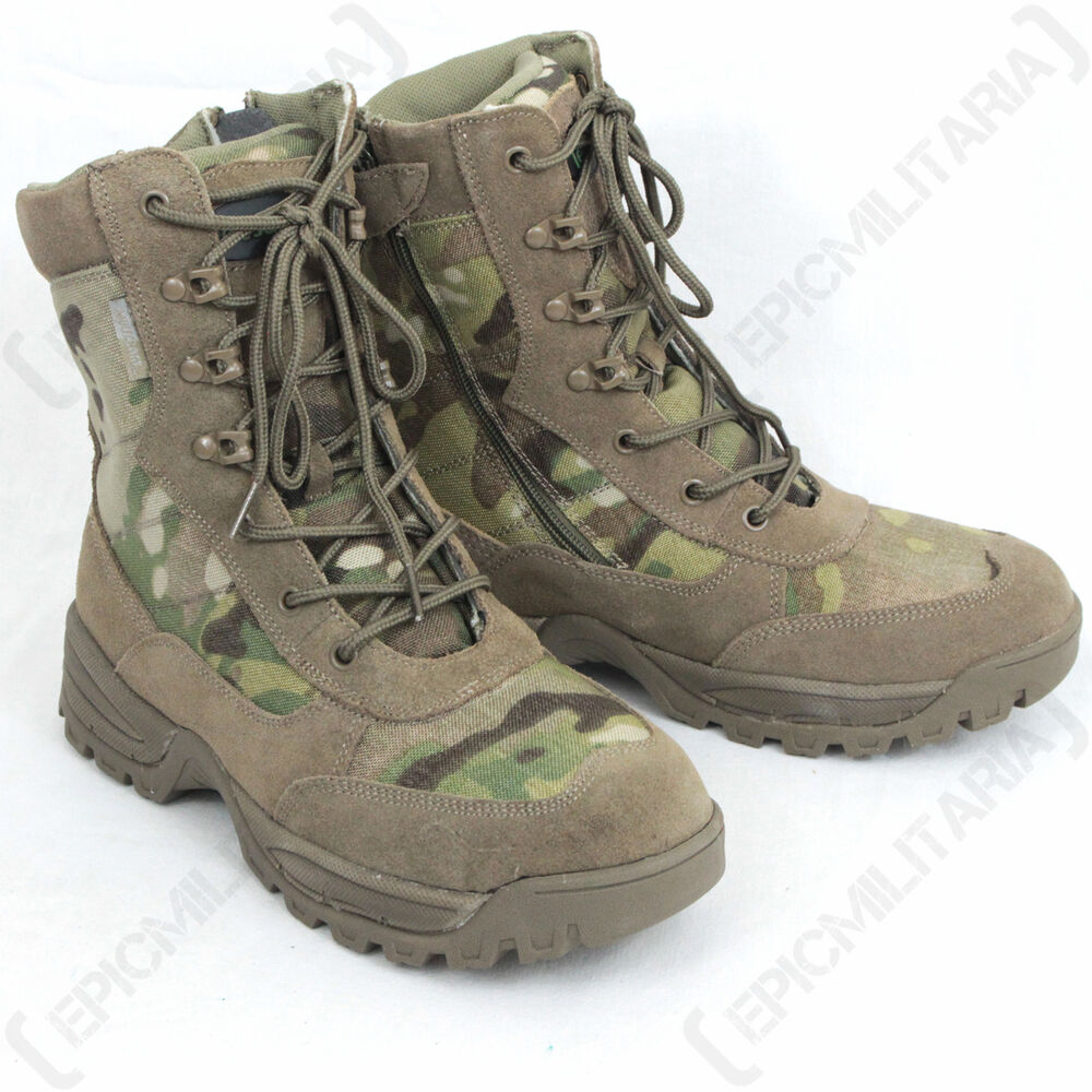 Multicam Pattern Side Zip Tactical Boots All Sizes Army