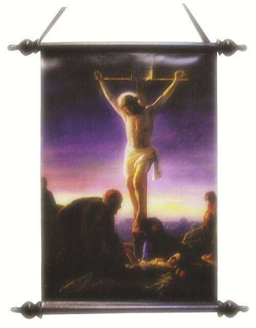 Jesus Wall Decoration : The crucifixion of jesus christ wall scroll christian