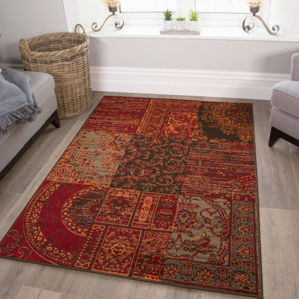 Warm Orange Red Rugs Traditional Small Large Rugs New