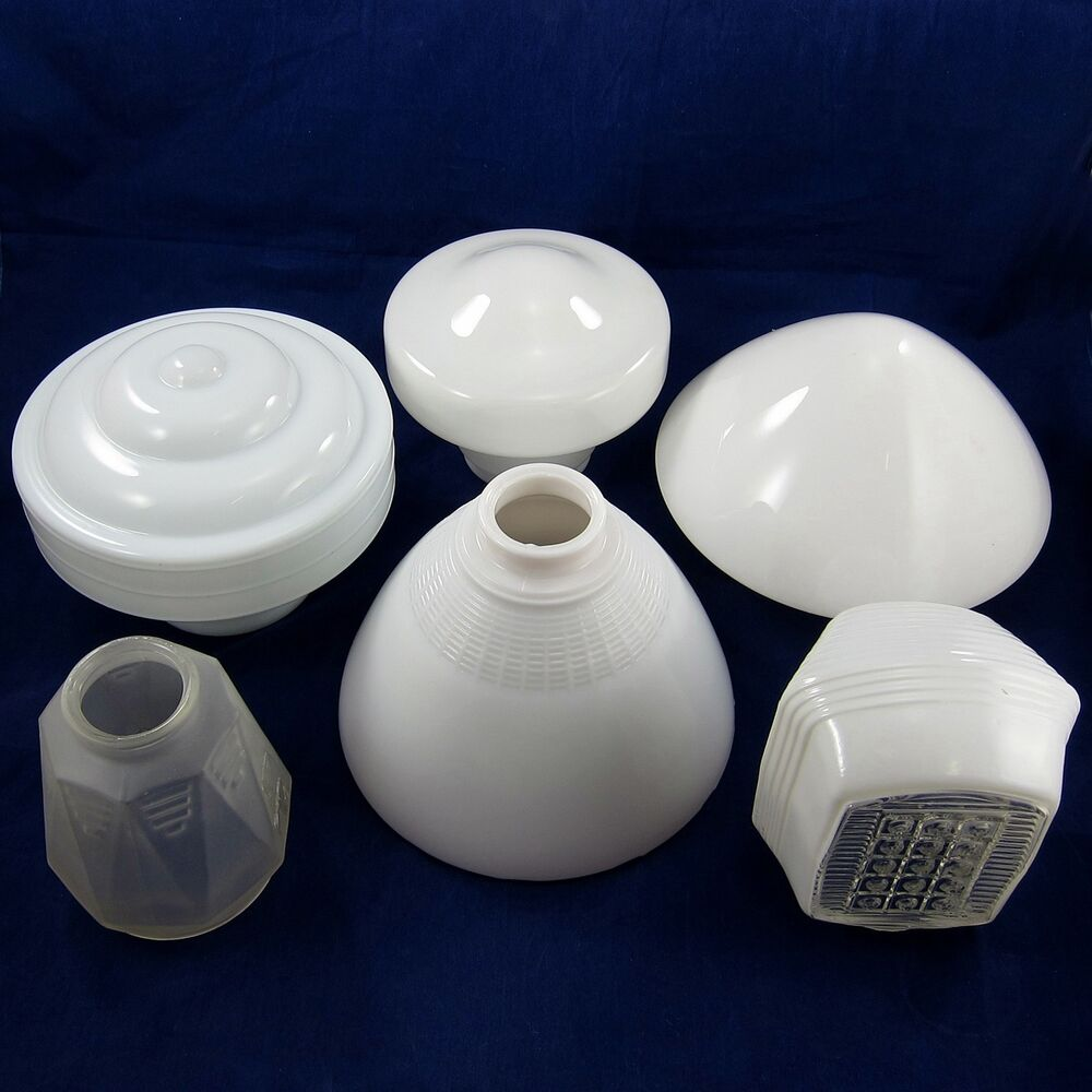 7 retro shades lot vintage ceiling lights milk glass frosted art deco light lamp ebay. Black Bedroom Furniture Sets. Home Design Ideas