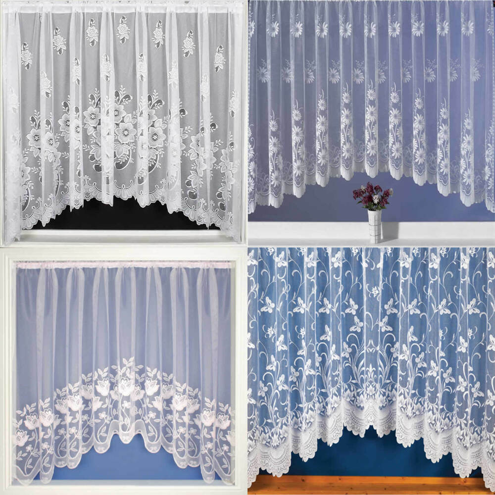 White modern voile net curtain all sizes available ebay - Net Curtains Jardinieres Lace Curtain Panel Ready To