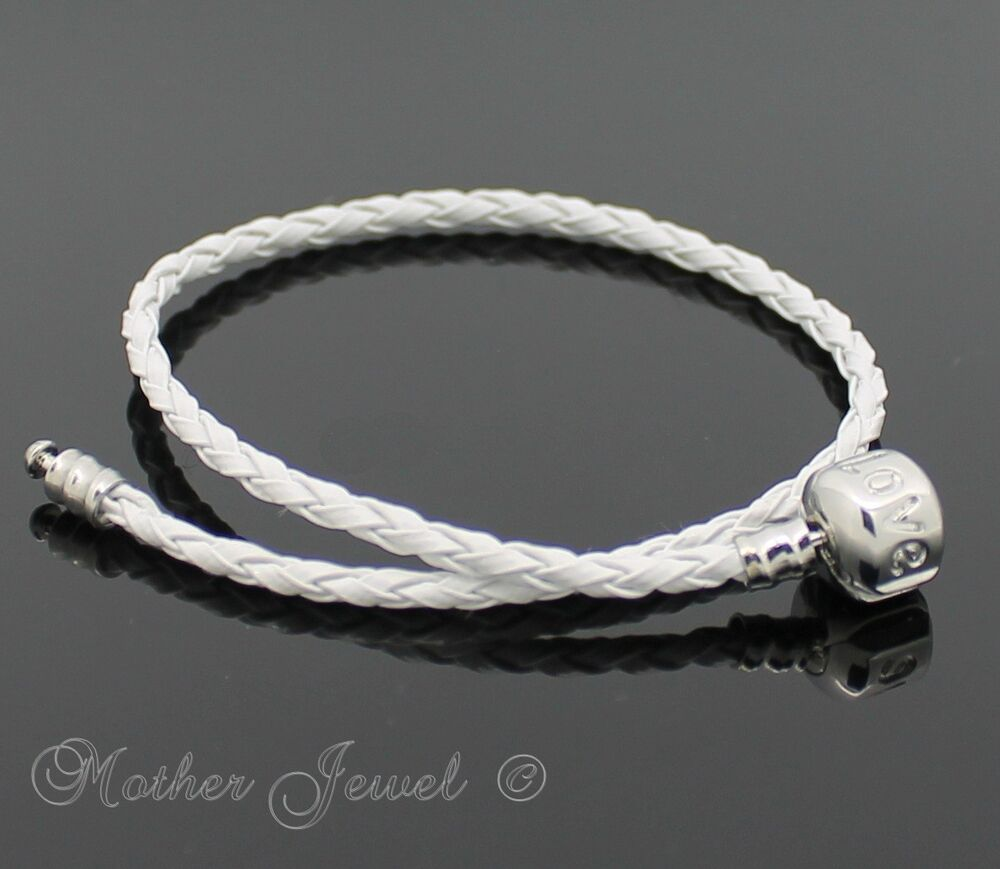 Leather Bracelet With Charms: WHITE LEATHER SILVER PLATED CHARM BEAD EUROPEAN LOVE CLIP
