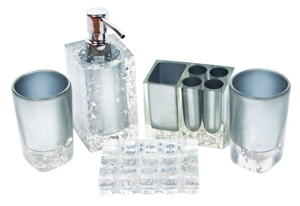Hot fashion 5 pcs silver like bathroom accessory set for Bathroom accessories silver