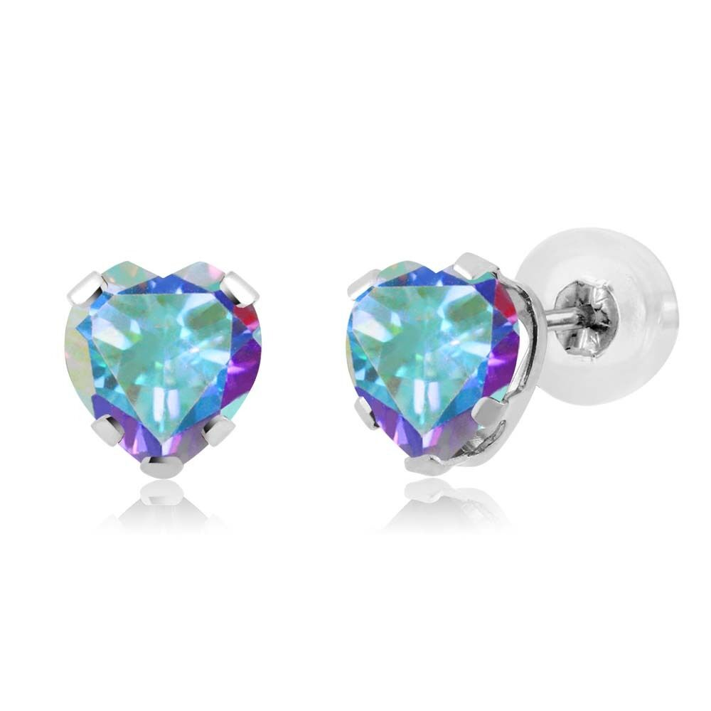 ct heart shape mercury mist mystic topaz 925 silver stud earrings ebay. Black Bedroom Furniture Sets. Home Design Ideas