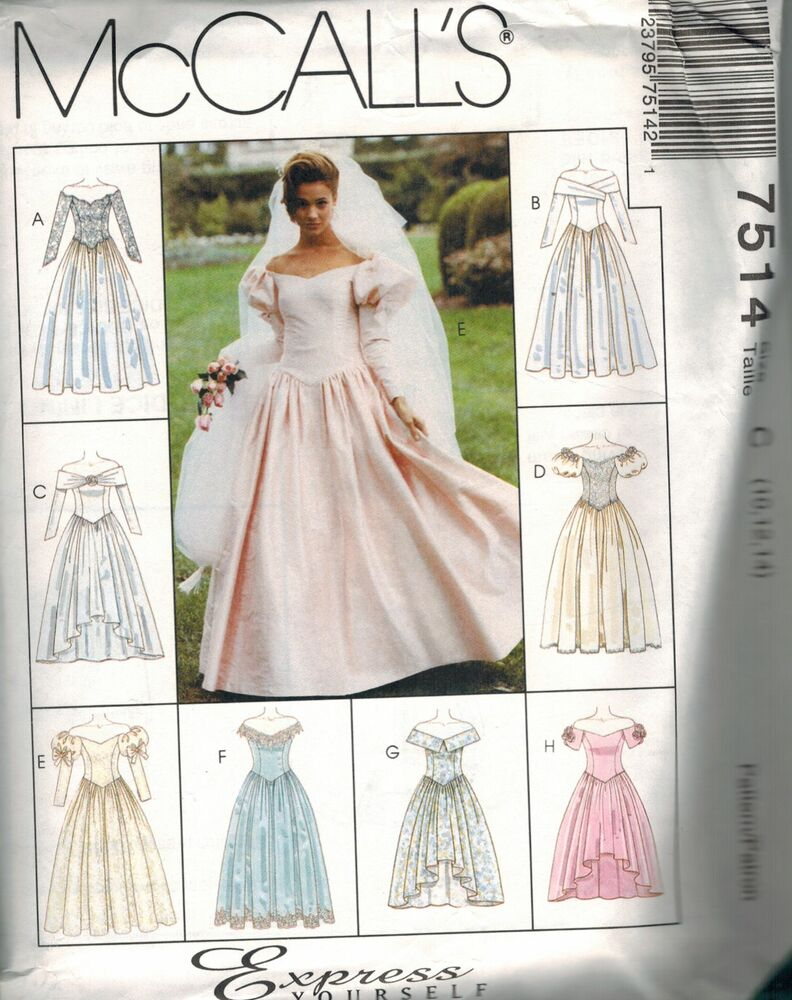 7514 vintage mccalls sewing pattern elegant wedding gown for Wedding dress patterns vintage