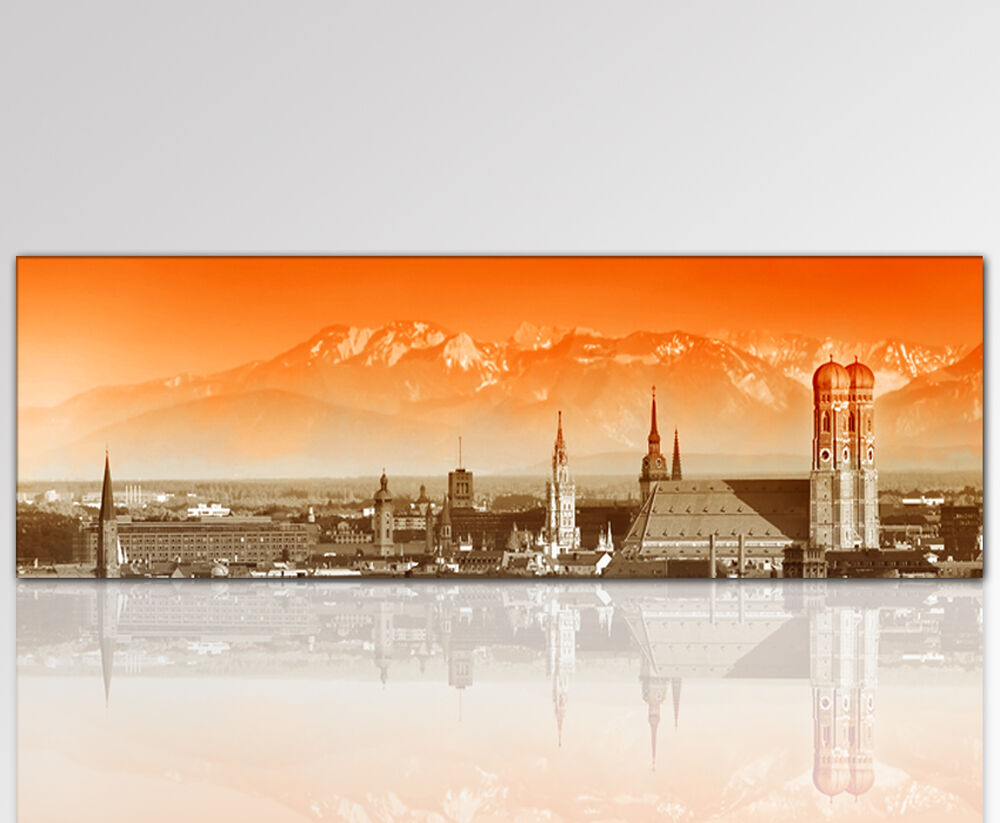 120x50cm wandbild m nchen alpen skyline leinwandbild panorama orange ebay. Black Bedroom Furniture Sets. Home Design Ideas
