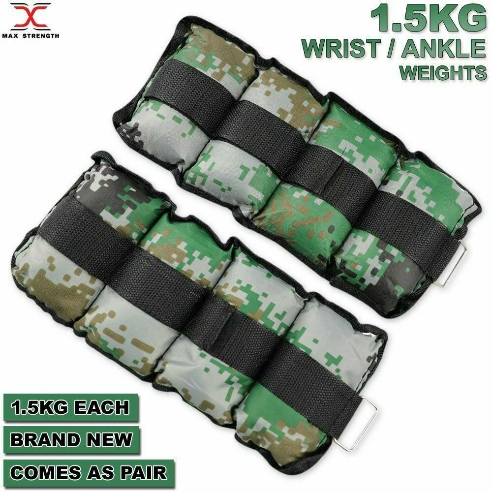 Ankle Weights Black Black 1kg x2 2kg Wrist Ankle