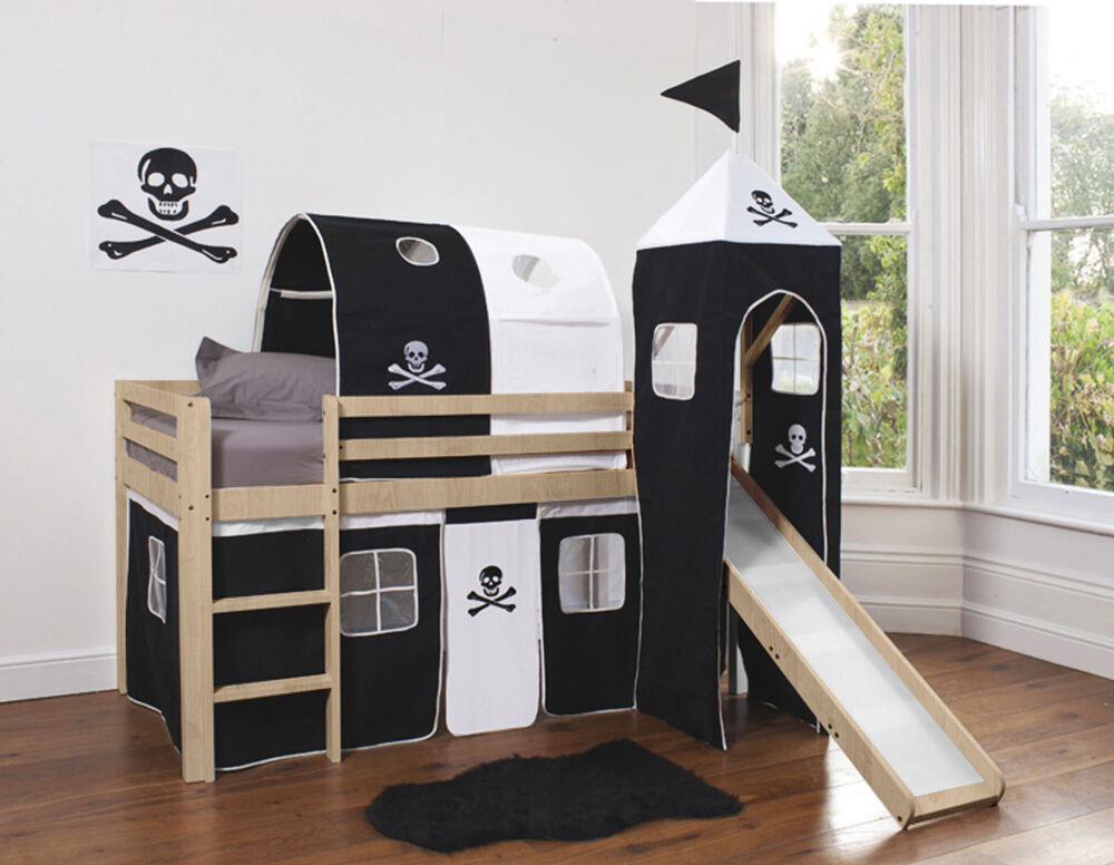 cabin bed mid sleeper wooden bunk in pine with pirate. Black Bedroom Furniture Sets. Home Design Ideas
