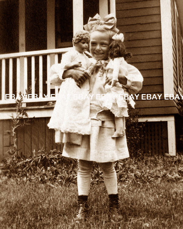 Happy Little Victorian Girl And Her Vintage Doll Photo Ebay
