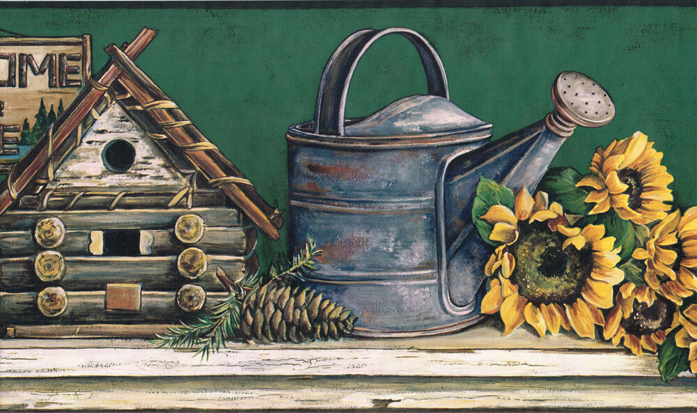 COUNTRY SUNFLOWER BIRD HOUSE WATERING CAN CHAIR Green Back ...