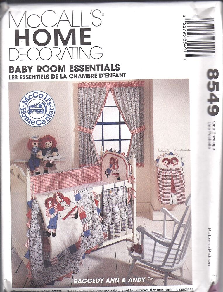 Baby Bedroom Essentials: 8549 Vintage UNCUT McCalls SEWING Pattern Raggedy Ann Andy