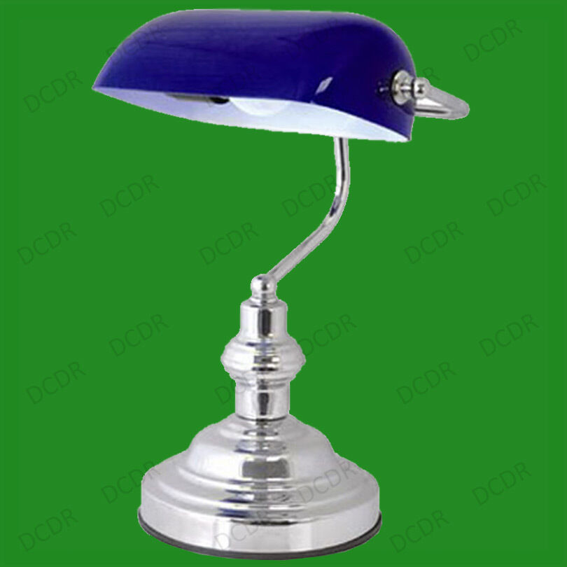 15 advocate bankers desk lamp blue glass shade chrome. Black Bedroom Furniture Sets. Home Design Ideas